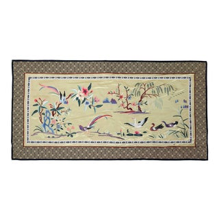 Vintage Chinese Silk Embroidered Cloth With Tropical Birds and Swans in Golden Lake For Sale