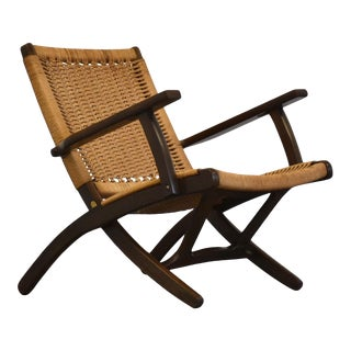Hans Wegner Style Folding Lounge Chair For Sale