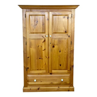 Vintage House of Brougham Rustic Pine Wardrobe Armoire For Sale
