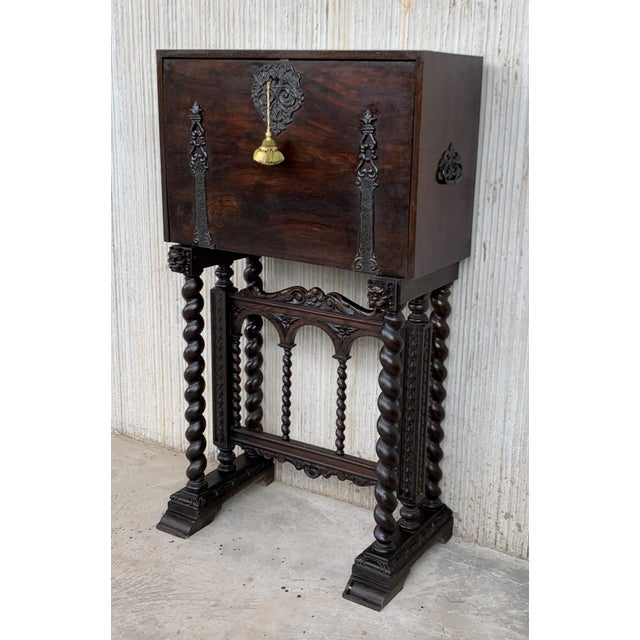 18th Spanish Bargueno of Columns With Foot Bridge, Cabinet on Stand For Sale - Image 4 of 13