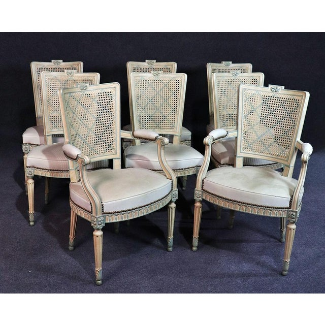 Set of 8 French Louis XVI Style Caned Back Dining Chairs For Sale - Image 13 of 13