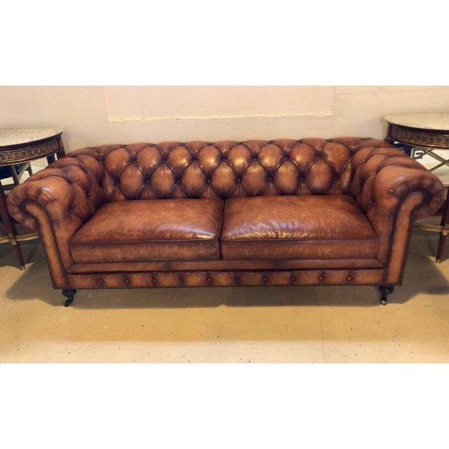 english georgian style worn leather chesterfield sofa chairish