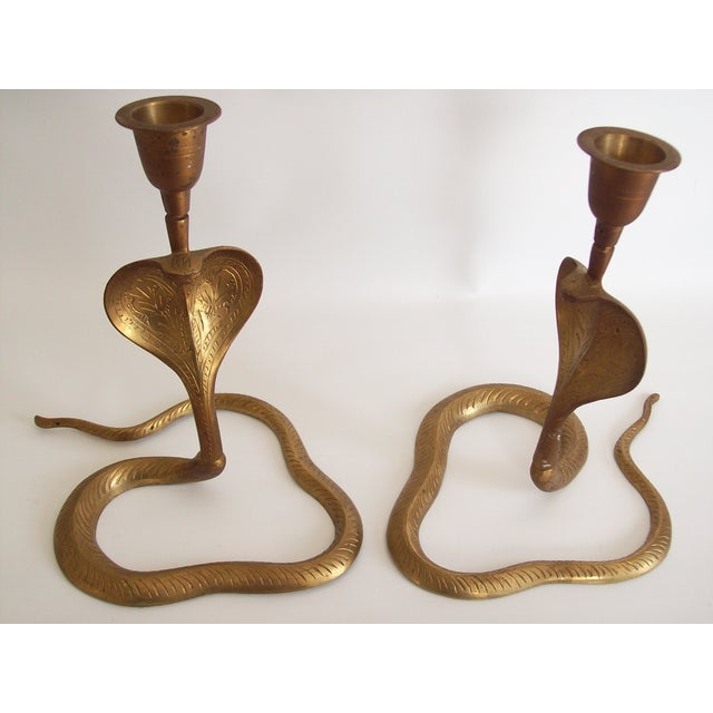 Vintage Brass Cobra Snake Candlesticks - A Pair - Image 4 of 9