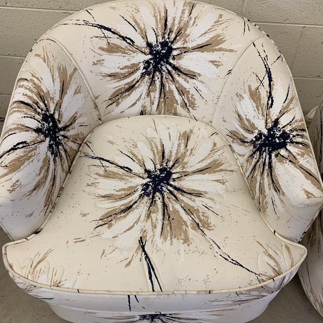 1980s Milo Baughman Style Swivel Chairs - a Pair For Sale - Image 5 of 12