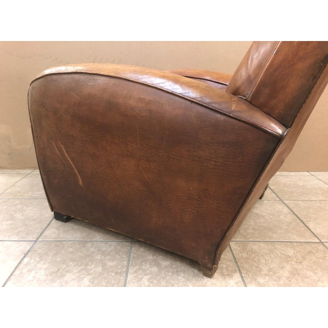 Animal Skin 1940s French Art Deco Leather Lounge Chair For Sale - Image 7 of 11