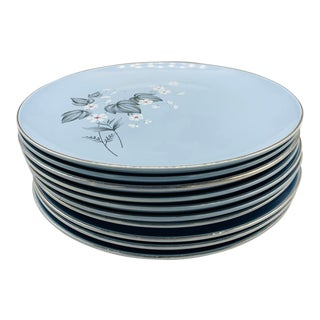 Taylor Smith Taylor Versatile Blue Floral Luncheon Plates - Set of Nine For Sale