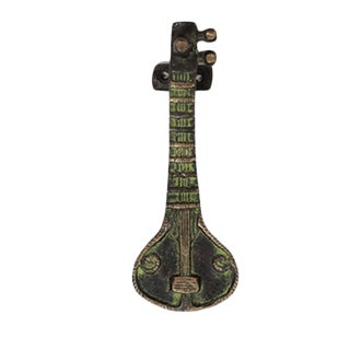 Art Deco Sitar Shaped Brass Pull For Sale