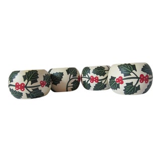 Vintage Christmas Holly Napkin Rings-4 Pieces