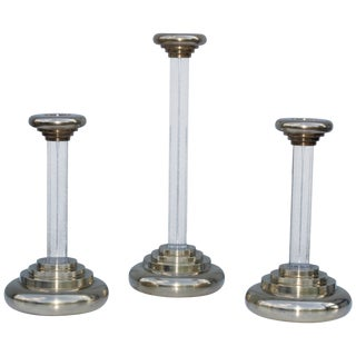 1980s Lucite and Brass Large Candleholders For Sale