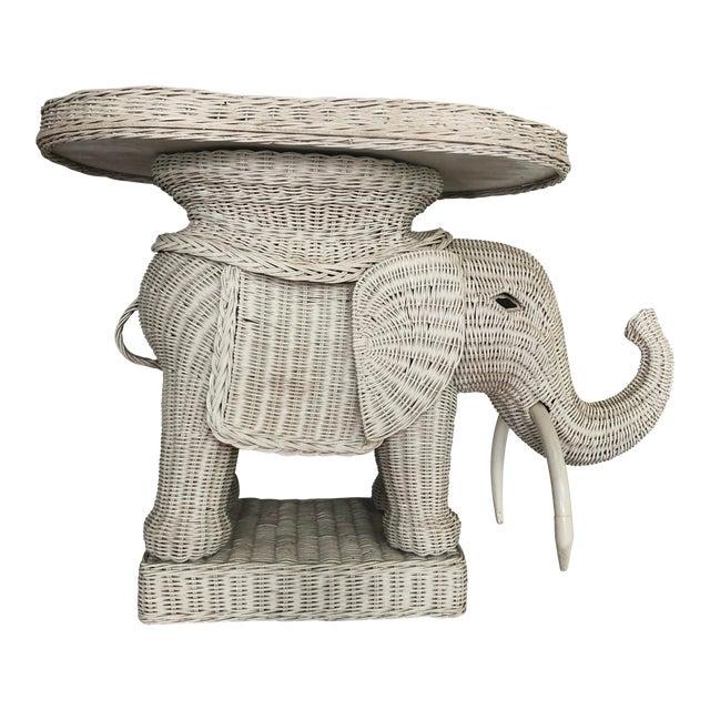 Vintage Wicker Elephant Garden Stool Side Table For Sale