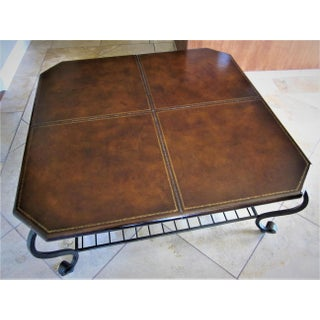 Wrought Iron Base & Leather Top Coffee Table Preview