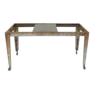Vintage Industrial Metal Table Base Kitchen Island For Sale
