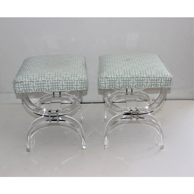 Hollis Jones Style Lucite U Benches Stools 1940s - Newly Upholstered - a Pair For Sale - Image 11 of 12