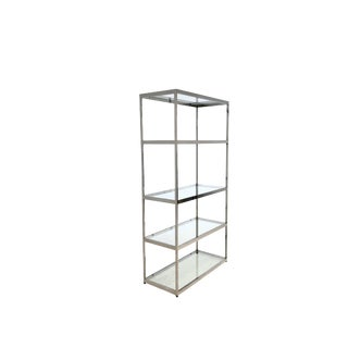 Mid Century Modern Milo Baughman Style Chrome and Glass Etagere Shelves For Sale
