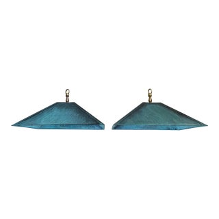 Square Copper Hanging Lanterns - a Pair For Sale