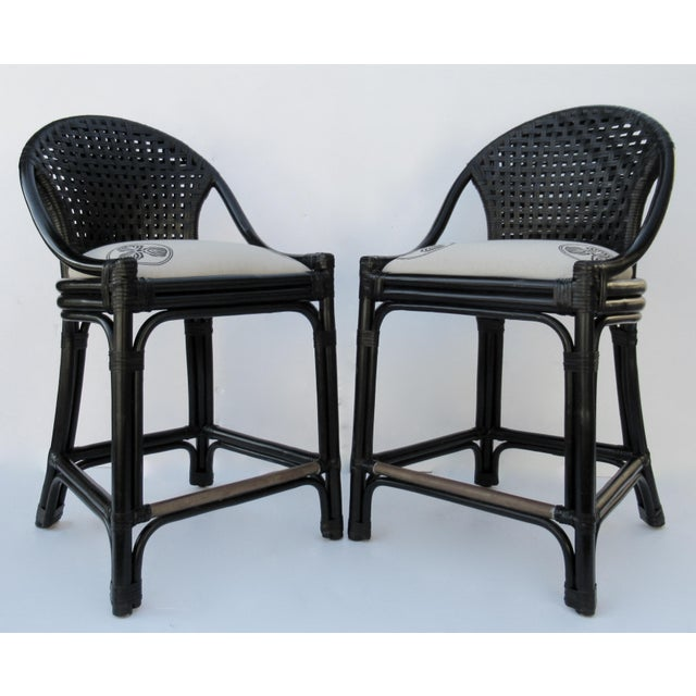 Boho Chic C.1996 Palecek Black Leather Strapped Rattan Counter Stools - a Pair For Sale - Image 3 of 12