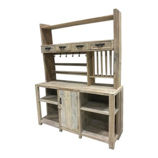White Washed Barn Wood Style Hutch Cabinet