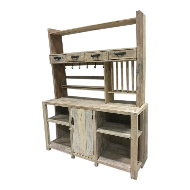 White Washed Barn Wood Style Hutch Cabinet For Sale