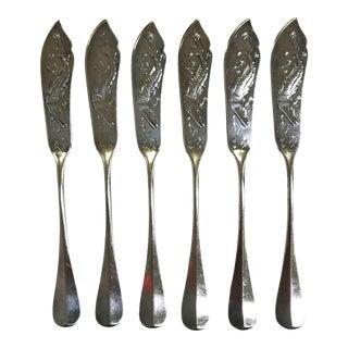 Art Krupp Berndorf Silver Plate Sturgeon Fish Knives From Hotel Pagano, Capri- Set of 6 For Sale