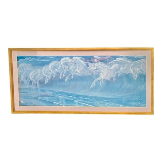 Walter Crane's 1892 Neptune's Horses Custom Gilt Framed 1990 Neoclassical Poster For Sale