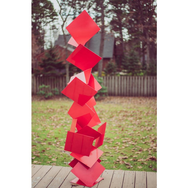 """-Free Standing Abstract modern powder coated steel sculpture, named """"Sotto"""", will complement contemporary, modern, or..."""