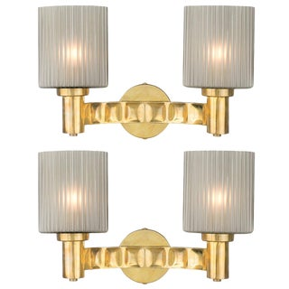 Murano Gray Glass and Brass Wall Sconces For Sale