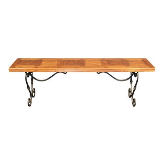 Parquetry Top Bench with Wrought Iron Base For Sale