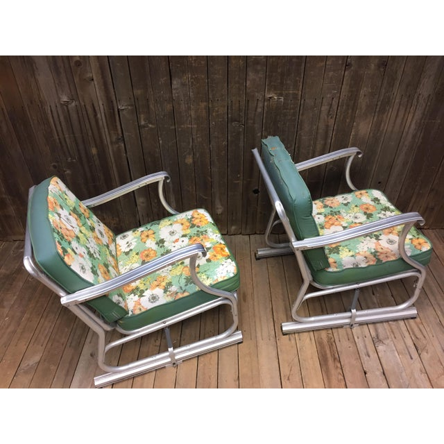 Mid Century Modern Bunting Aluminum Glider Patio Chairs - A Pair For Sale - Image 6 of 11