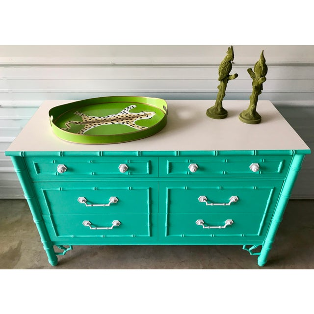 Thomasville Allegro faux bamboo dresser, professional refinished and painted. Pair available.