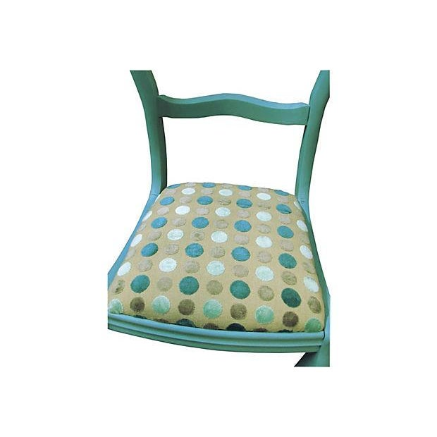 Antique Teal Carved Paris Dining Chairs - a Pair - Image 4 of 4