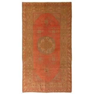 Early 19th Century Semi Antique Khotan Medallion Wool Rug - 4′1″ × 8′5″ For Sale
