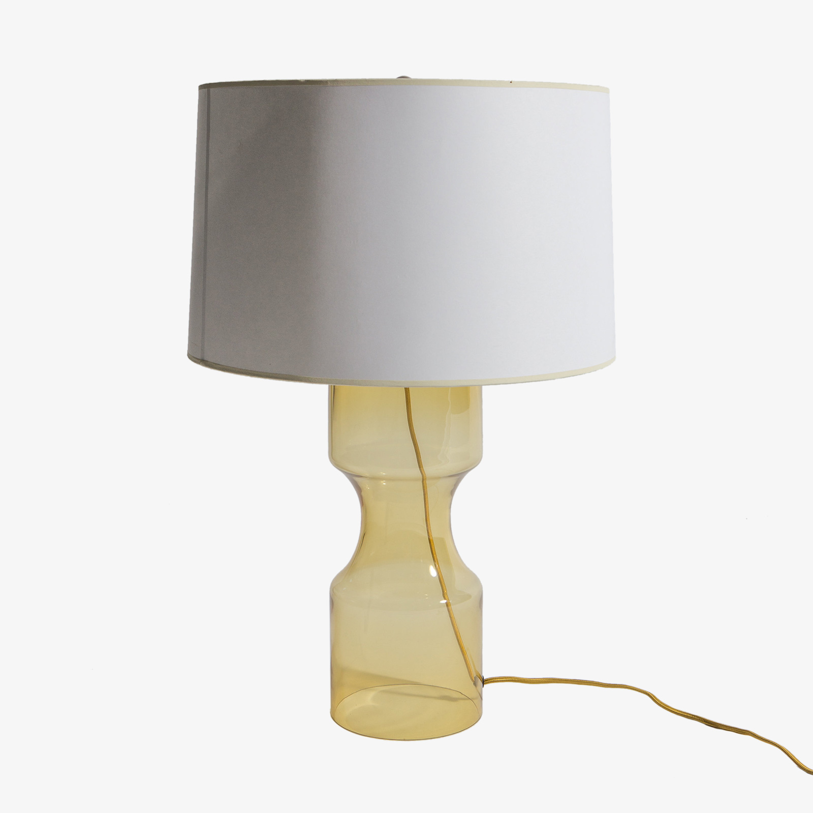 Contemporary Constrictor Amber Glass Table Lamp With Linen Lamp