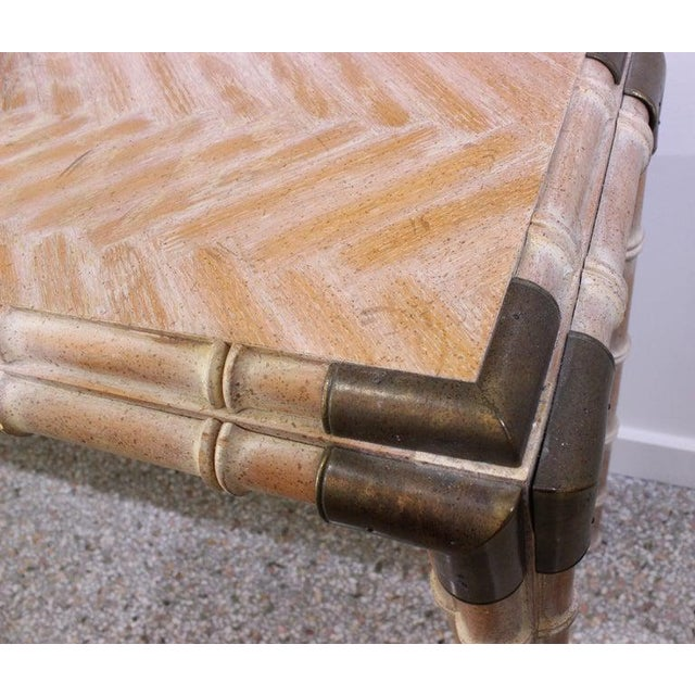 Metal Vintage Console Table Faux Bamboo With Antique Brass Mounts For Sale - Image 7 of 13