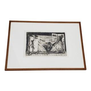 "Alfredo Zalca (Mexico, 1908-2003) ""Hamaca"" Original Pencil Signed Etching C.1947 For Sale"