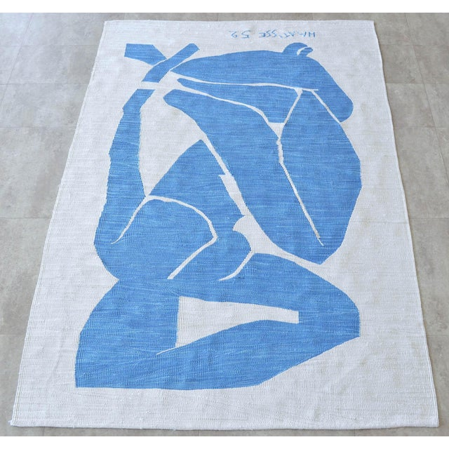 Henri Matisse - Blue Nude 3 - Inspired Silk Hand Woven Flat Weave Area - Wall Rug 4′8″ × 6′10″ For Sale In Raleigh - Image 6 of 12