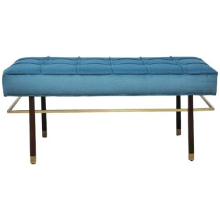 Harvey Probber Brass Frame Bench in Blue Velvet For Sale