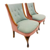 Image of Pair Vintage Slipper Chairs For Sale
