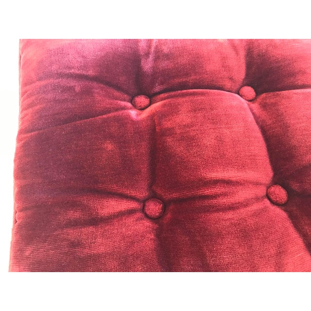 Red Vintage Mid-Century Red Velvet Square Tufted Pillow For Sale - Image 8 of 9