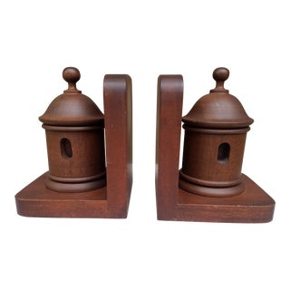 Vintage Wood Lighthouse Bookends - a Pair For Sale