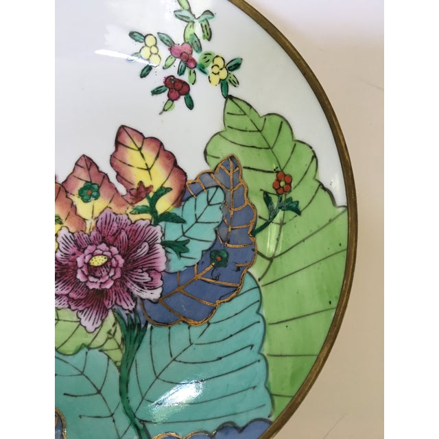 Mid 20th Century 20th Century Chinese Brass Encased Porcelain Bowl/Catchall in Tobacco Leaf Pattern For Sale - Image 5 of 9