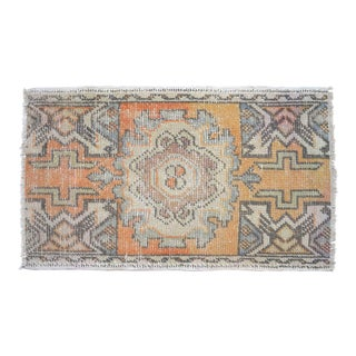 Distressed Low Pile Rug Turkish Yastik Petite Rug Faded Mat - 19'' X 32'' For Sale