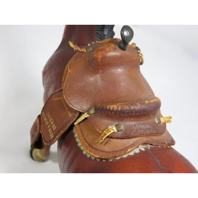 1930s Cast Iron Horse & Leather Saddle Doorstop For Sale - Image 9 of 12