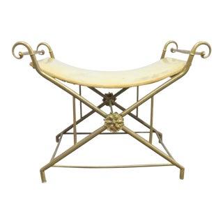 Mid Century Italian Brass X Base Vanity Bench For Sale