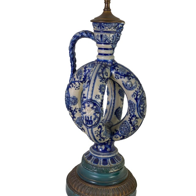 Cobalt Blue Salt Glazed German Double Ring Flask as Lamps - a Pair For Sale - Image 4 of 9