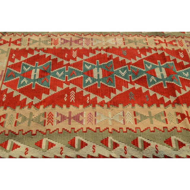 Handmade Kilim Geometric Design Cappadocia Red Color Kilim Rug - 3′11″ × 5′10″ For Sale In Sacramento - Image 6 of 8