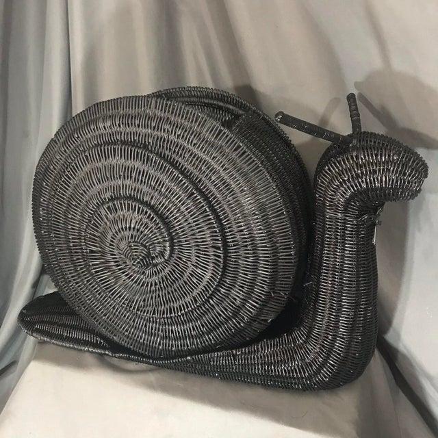 Vintage Snail Wicker/Rattan Basket Magazine Holder For Sale - Image 10 of 10