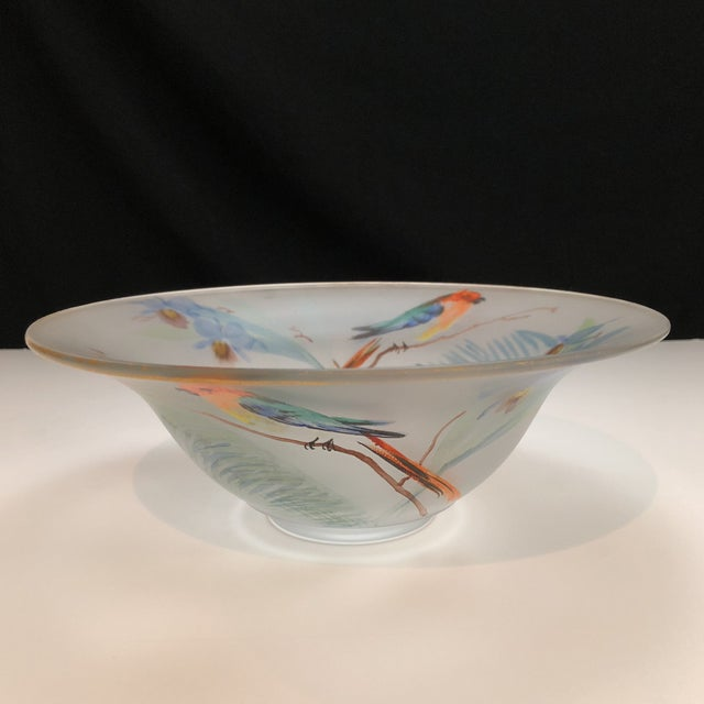 Hand Painted Parrots and Floral Glass Decorative Bowl For Sale In Houston - Image 6 of 8