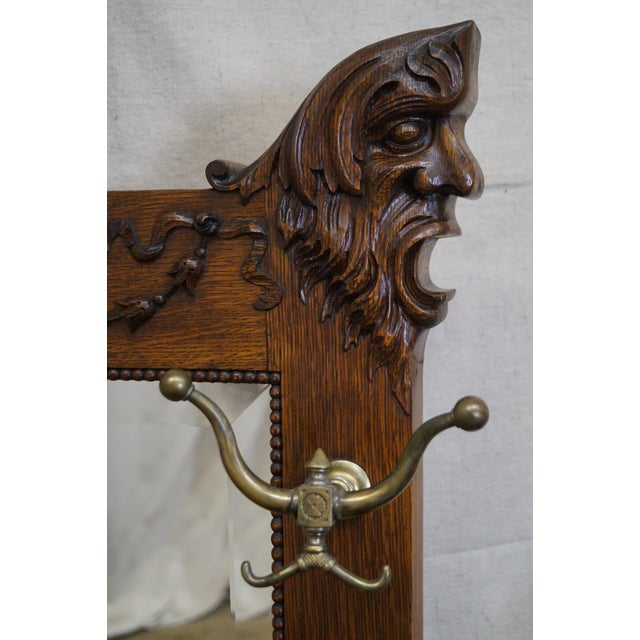 Antique Victorian Oak Carved Hall Mirror - Image 6 of 10