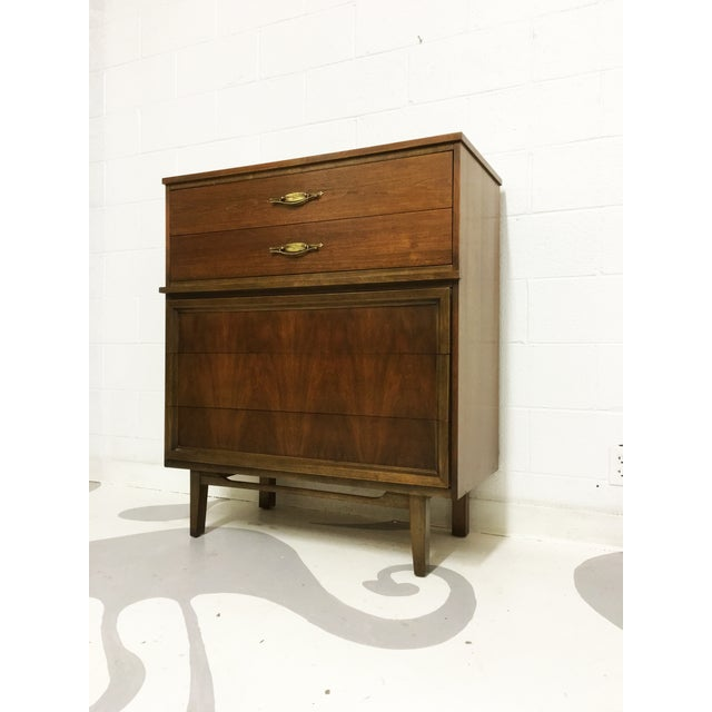 Mid-Century Modern Dresser Tallboy in Walnut - Image 2 of 6