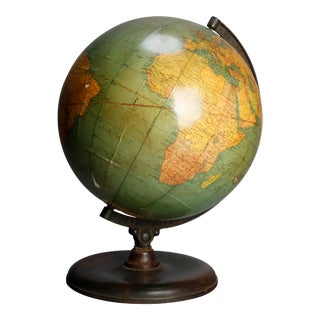 Antique Terrestrial Table Library World Globe by George F. Cram Co., circa 1920 For Sale